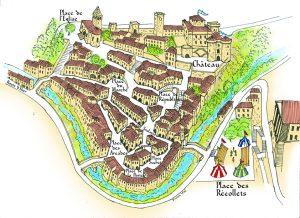 Plan de la ville dessinée par Vivais Vial