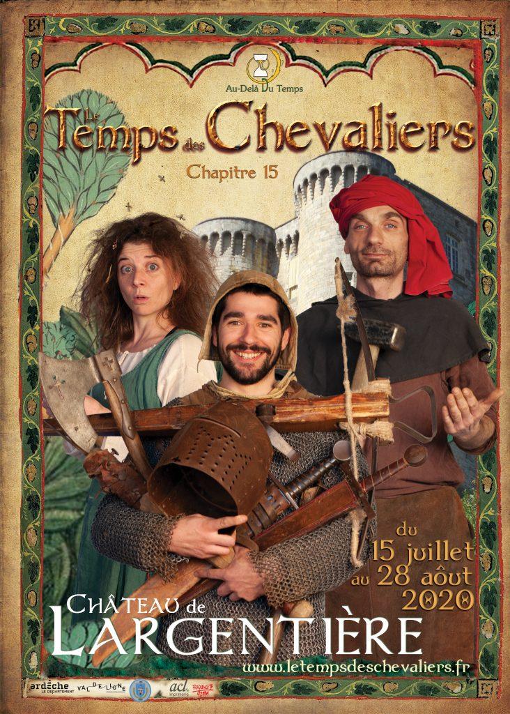 l'affiche 2020 avec un chevalier, un forgeron et une sauvageonne.